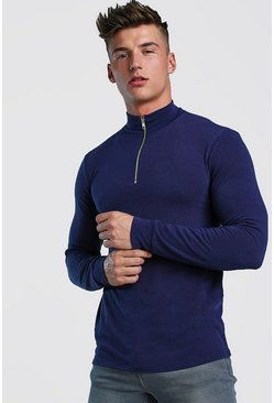 Navy Half Zip Funnel Neck Jumper