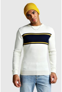 Ecru Muscle Fit Colour Block Jumper