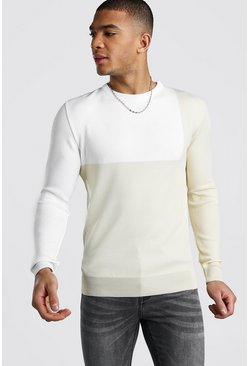 Muscle Fit Colour Block Jumper, Ecru