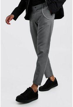 Mens Black Smart Minicheck Trouser With Chain