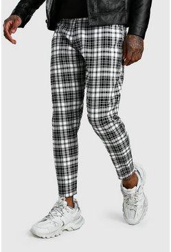 Black Smart Mono Tartan Pants