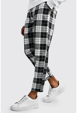 Mens Black Tartan Cropped Smart Trouser