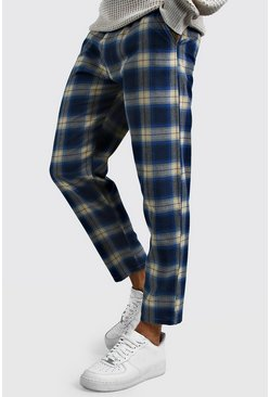 Mens Blue Tartan Cropped Smart Trouser
