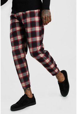 Mens Black Tartan Smart Cropped Trouser