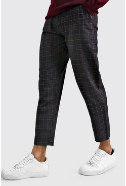 Mens Blue Tartan Smart Cropped Trouser