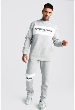 Grey marl Official MAN Colour Block Sweater Tracksuit