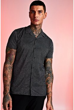 Black Short Sleeve Revere Collar Metallic Stripe Shirt