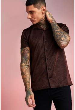 Bronze Short Sleeve Revere Collar Metallic Shimmer Shirt