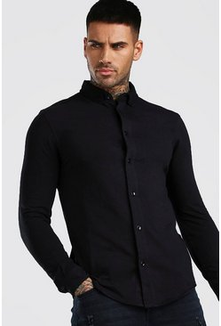 Black Muscle Fit Long Sleeve Jersey Shirt Regular Collar