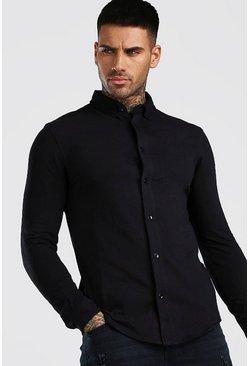 Black Muscle Fit Long Sleeve Jersey Shirt Regular Collar