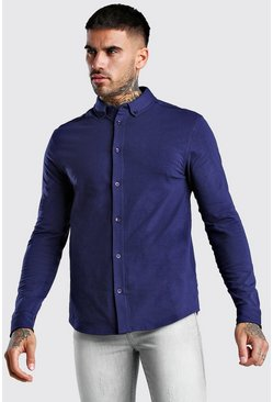 Navy Muscle Fit Long Sleeve Jersey Shirt Regular Collar