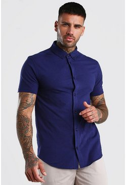Navy Short Sleeve Muscle Fit Jersey Shirt
