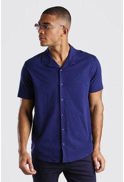 Navy Short Sleeve Revere Collar Jersey Shirt