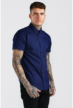 Navy Short Sleeve Cotton Poplin Shirt