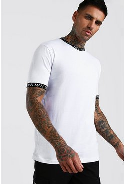 White Original MAN Neck & Cuff Print T-Shirt