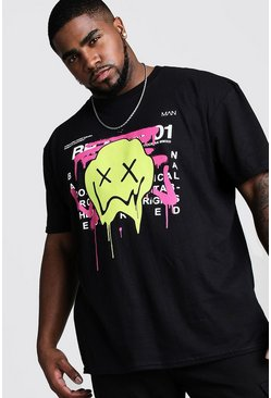Mens Black Big And Tall Drip Face Graffiti T-Shirt