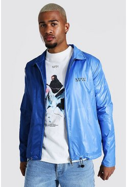 Blue Half And Half Coach Jacket With Chest Print
