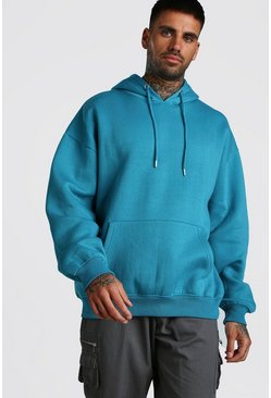 Blue Basic Oversized Over The Head Fleece Hoodie