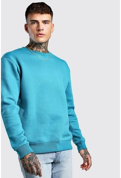 Blue Basic Crew Neck Fleece Sweatshirt