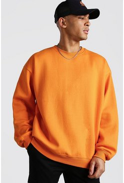 Orange Basic Oversized Fleece Sweatshirt