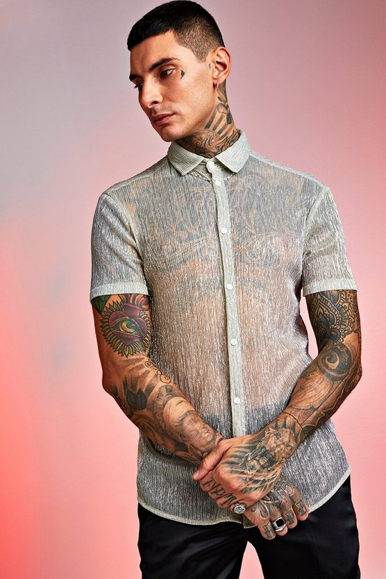 Short Sleeve Sheer Plisse Print Shirt by Boohoo Man