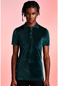 Mens Green Textured Velour Party Polo In Muscle Fit