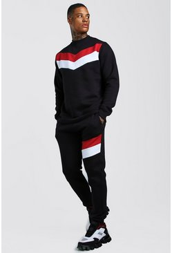 Black Chevron Panel Sweater Tracksuit