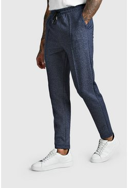 Navy Marl Smart Jogger Trouser With Pintuck