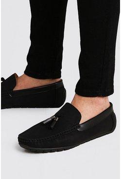 Black Faux Suede Tassel Driving Shoe