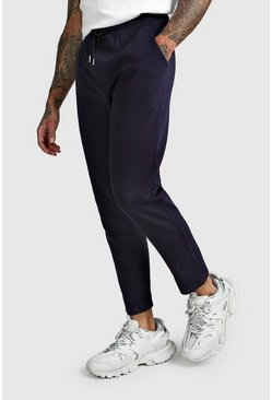 Navy Pinstripe Cropped Smart Jogger Trouser