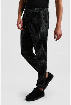 Charcoal Broken Stripe Smart Cropped Jogger Pants