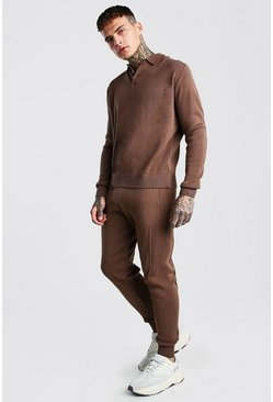 Taupe Knitted Long Sleeve Polo And Pin Tuck Jogger Set