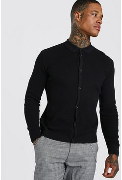 Black Button Through Knitted Shirt