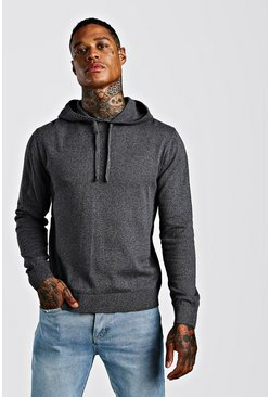 Mens Charcoal Over The Head Knitted Hoodie