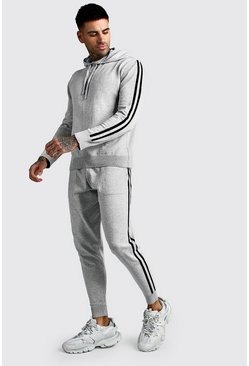 Grey Knitted Over The Head Hoodie & Jogger Set