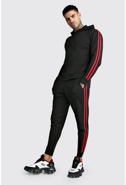 Black Knitted Over The Head Hoodie & Jogger Set