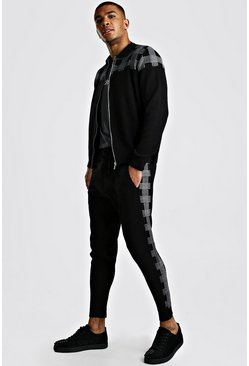 Knitted Check Bomber And Jogger Set, Black