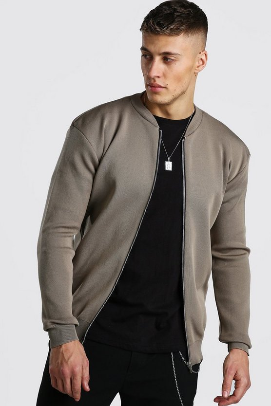 Taupe Smart Knitted Bomber