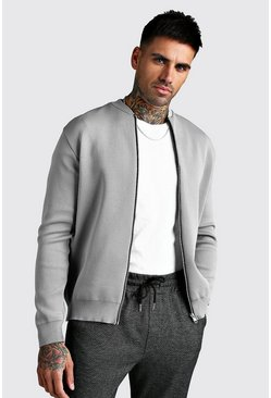 Grey Smart Knitted Bomber