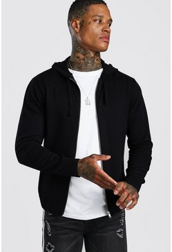 Black Zip Through Knitted Hoodie