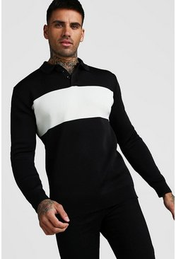 Knitted Long Sleeve Colour Block Polo, Black