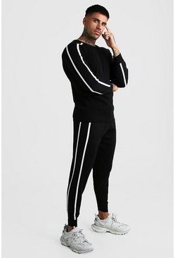 Black Knitted Muscle Fit Jumper Set With Piping