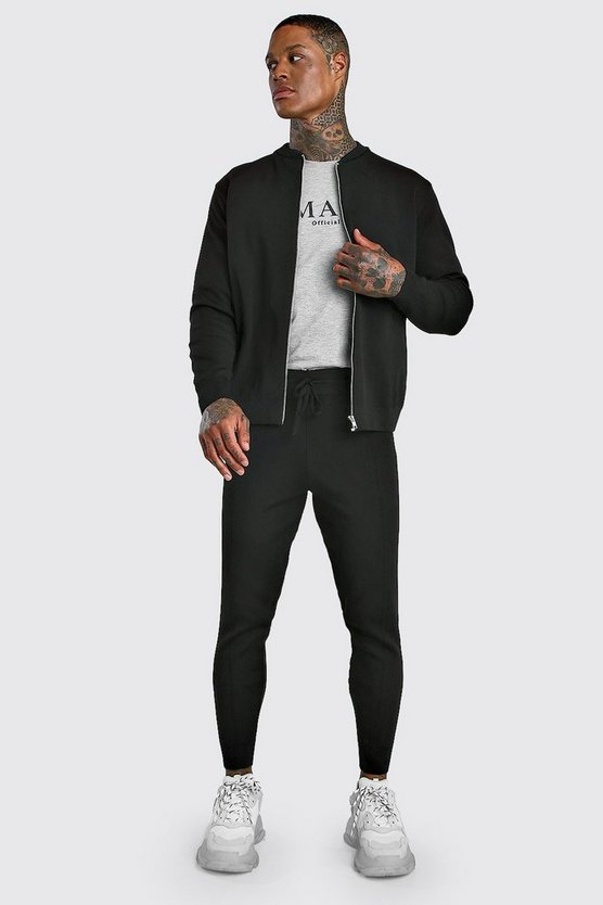 Smart Knitted Bomber & Jogger Set by Boohoo Man