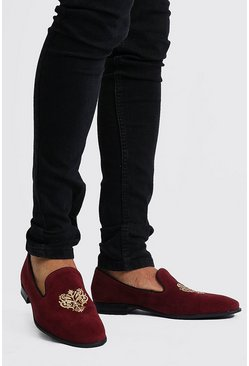 Mocassins en velours brodé, Rouge
