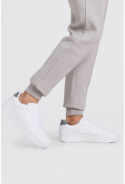 White Reflective Detail Lace Up Sneakers