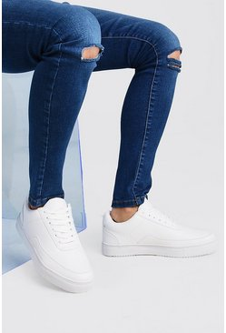White Smooth Leather Look Sneakers