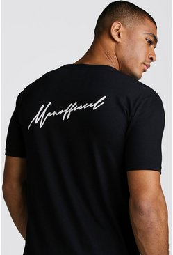 Black MAN Official Script Front & Back Print T-Shirt