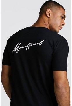Black MAN Official Script Front & Back Print T-Shirt