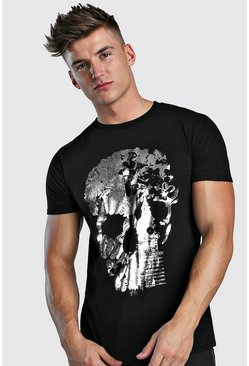 Mens Black London Skull Foil Print T-Shirt