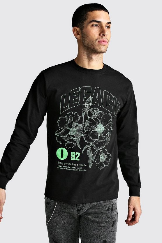 Mens Black Long Sleeve Legacy Print T-Shirt